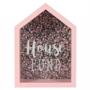 House Fund 53016 - Savings Shadow Frame Glass Front Money Box